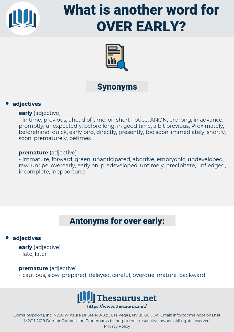 over early, synonym over early, another word for over early, words like over early, thesaurus over early