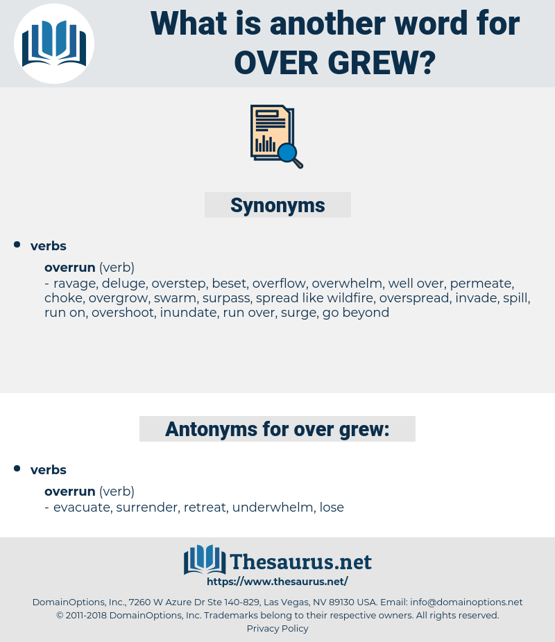 over grew, synonym over grew, another word for over grew, words like over grew, thesaurus over grew