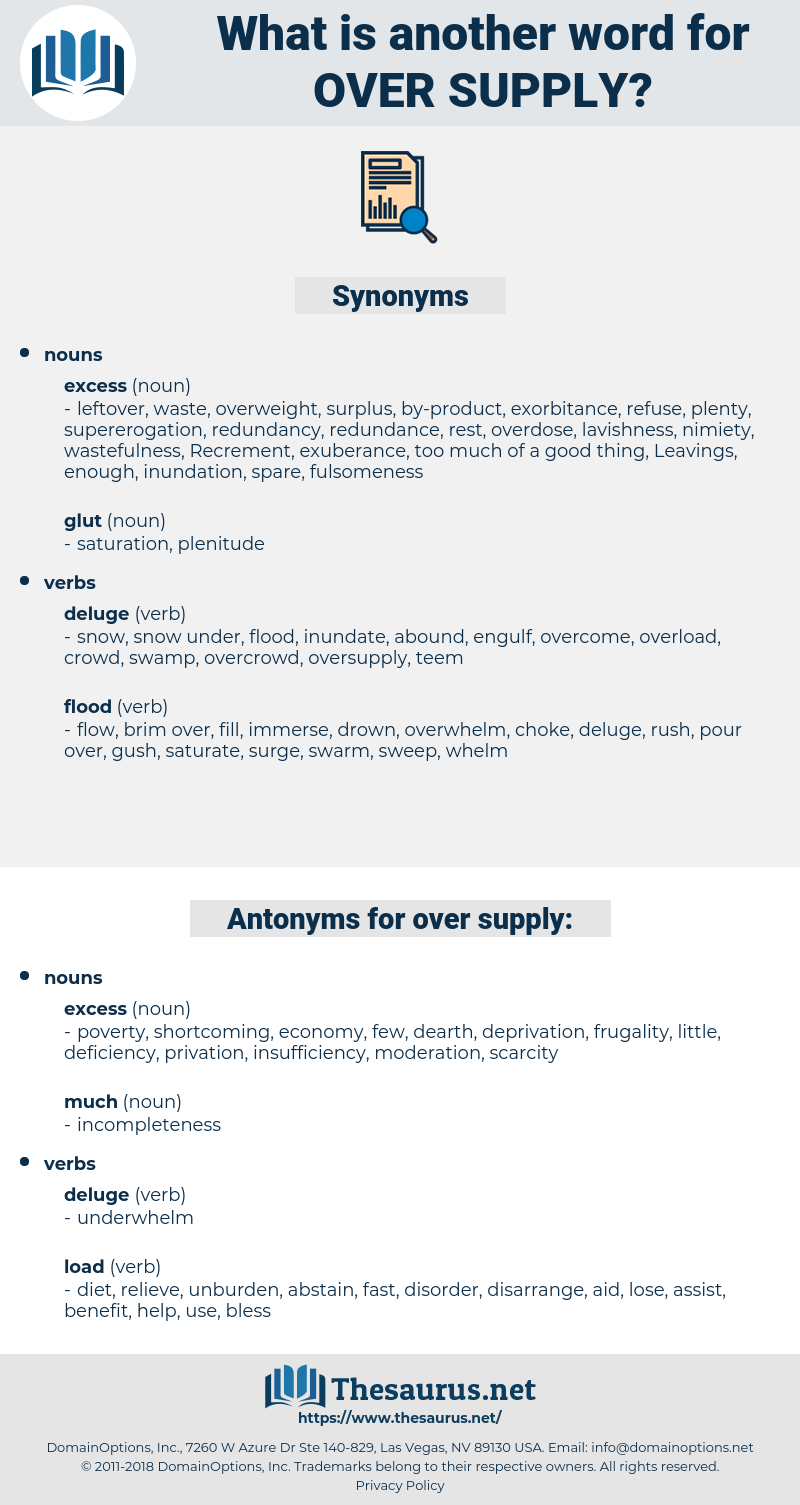 over supply, synonym over supply, another word for over supply, words like over supply, thesaurus over supply