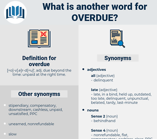 overdue, synonym overdue, another word for overdue, words like overdue, thesaurus overdue