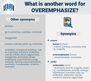 overemphasize, synonym overemphasize, another word for overemphasize, words like overemphasize, thesaurus overemphasize
