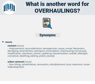 overhaulings, synonym overhaulings, another word for overhaulings, words like overhaulings, thesaurus overhaulings