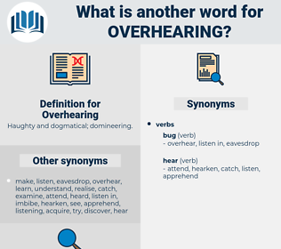 Overhearing, synonym Overhearing, another word for Overhearing, words like Overhearing, thesaurus Overhearing