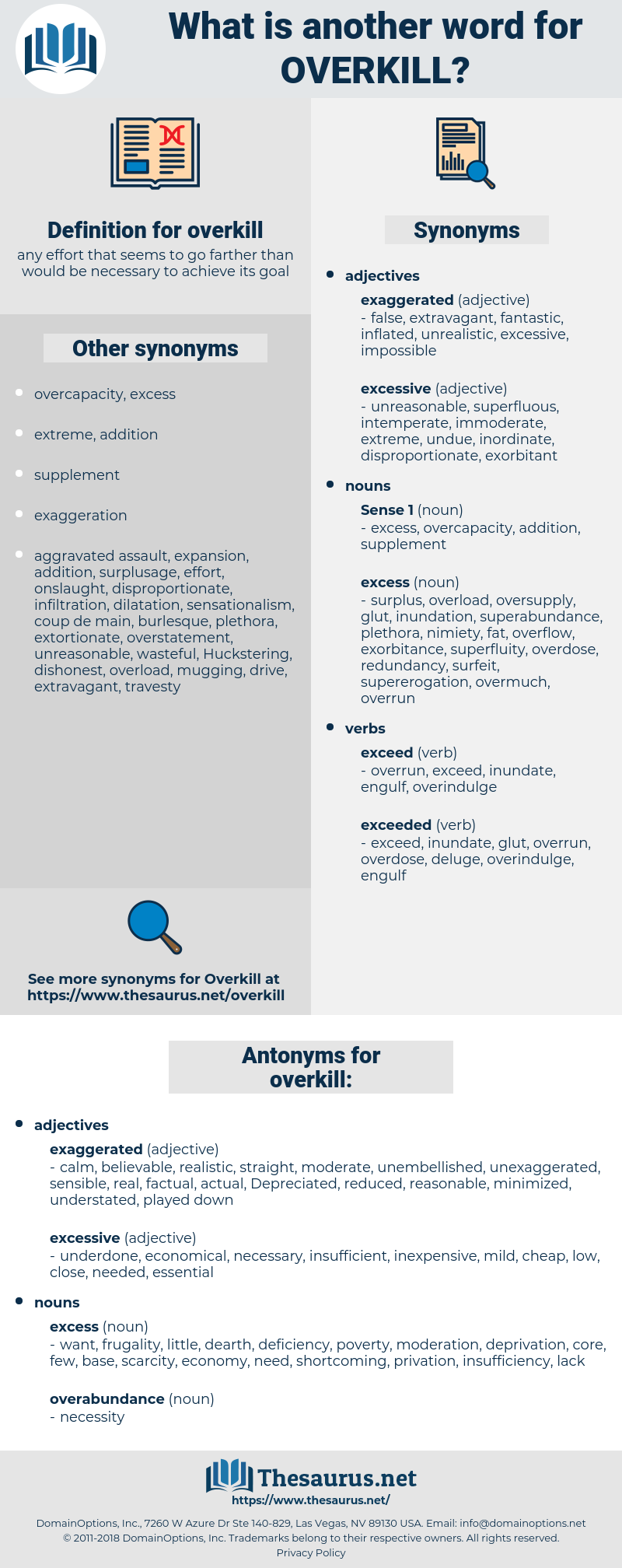 Synonyms For Overkill Antonyms For Overkill Thesaurus Net