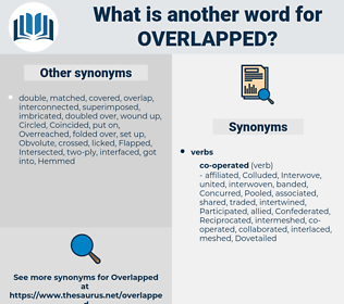overlapped, synonym overlapped, another word for overlapped, words like overlapped, thesaurus overlapped