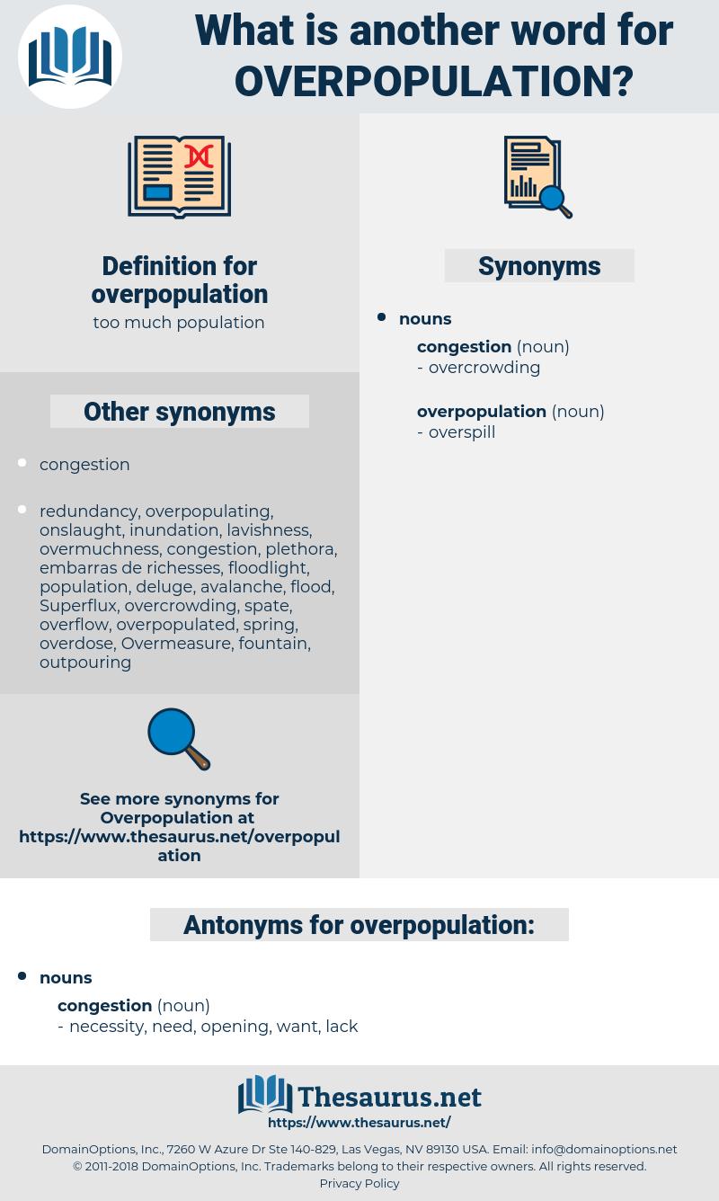 overpopulation, synonym overpopulation, another word for overpopulation, words like overpopulation, thesaurus overpopulation