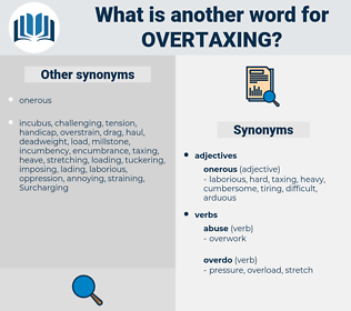 overtaxing, synonym overtaxing, another word for overtaxing, words like overtaxing, thesaurus overtaxing