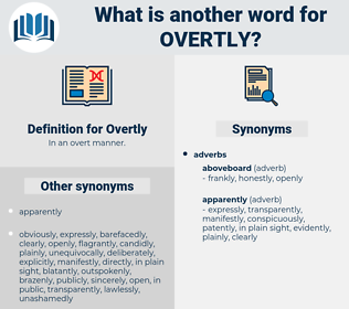 Overtly, synonym Overtly, another word for Overtly, words like Overtly, thesaurus Overtly