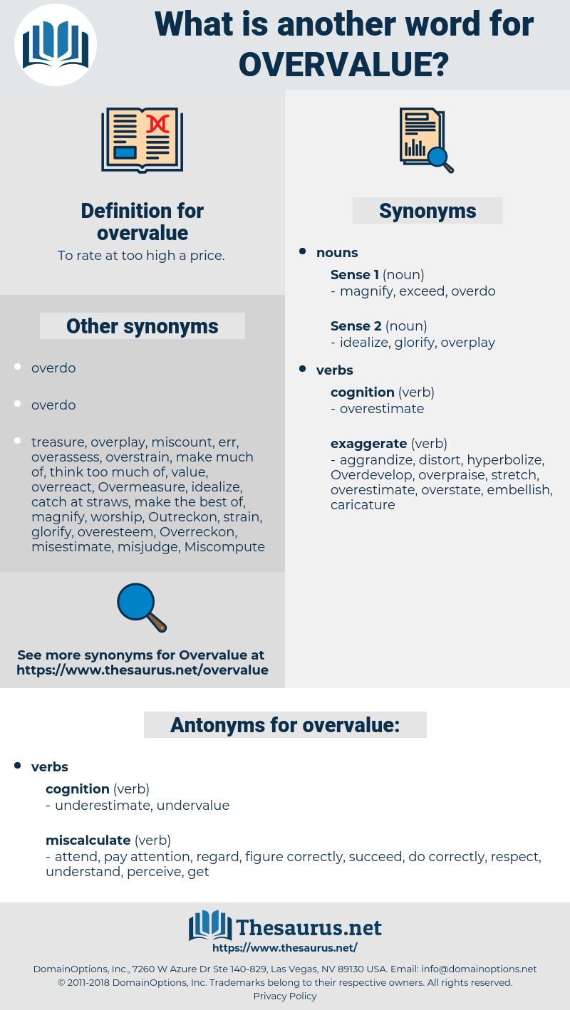 overvalue, synonym overvalue, another word for overvalue, words like overvalue, thesaurus overvalue