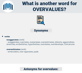 overvalues, synonym overvalues, another word for overvalues, words like overvalues, thesaurus overvalues
