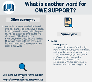 owe support, synonym owe support, another word for owe support, words like owe support, thesaurus owe support