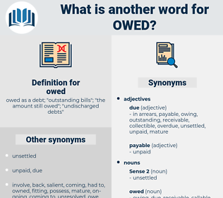 owed, synonym owed, another word for owed, words like owed, thesaurus owed