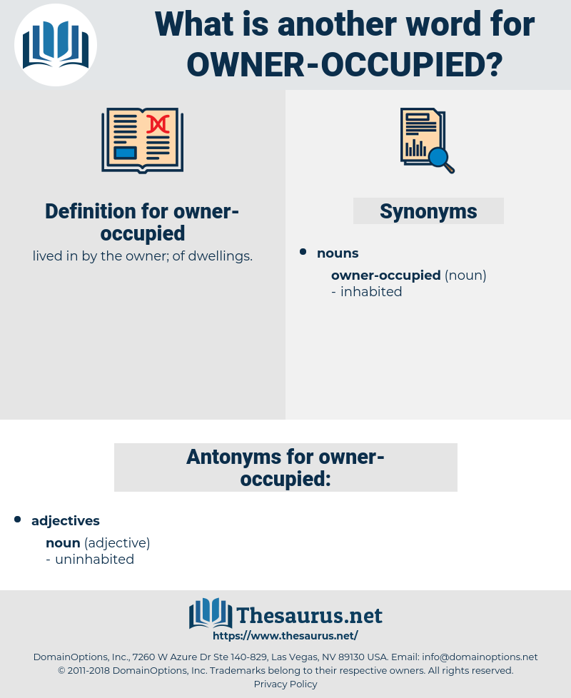 owner-occupied, synonym owner-occupied, another word for owner-occupied, words like owner-occupied, thesaurus owner-occupied