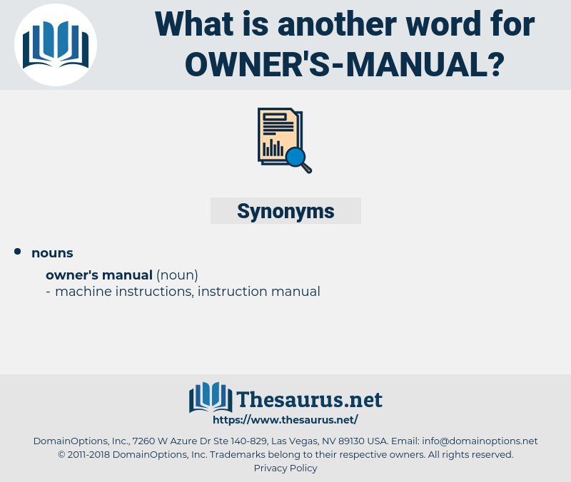 owner's-manual, synonym owner's-manual, another word for owner's-manual, words like owner's-manual, thesaurus owner's-manual