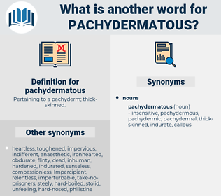 pachydermatous, synonym pachydermatous, another word for pachydermatous, words like pachydermatous, thesaurus pachydermatous