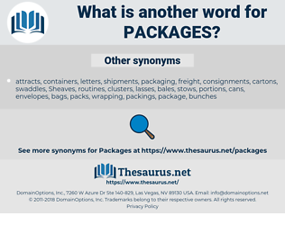 packages, synonym packages, another word for packages, words like packages, thesaurus packages