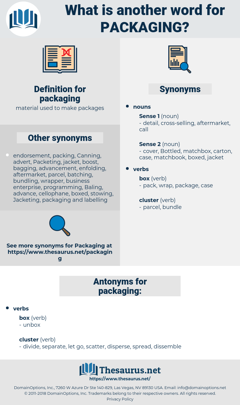 packaging, synonym packaging, another word for packaging, words like packaging, thesaurus packaging
