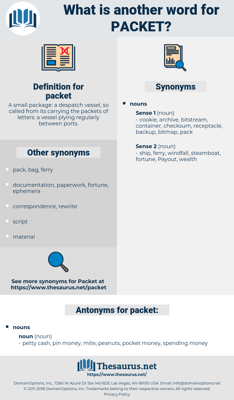 packet, synonym packet, another word for packet, words like packet, thesaurus packet
