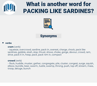 packing like sardines, synonym packing like sardines, another word for packing like sardines, words like packing like sardines, thesaurus packing like sardines