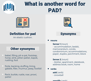 pad, synonym pad, another word for pad, words like pad, thesaurus pad