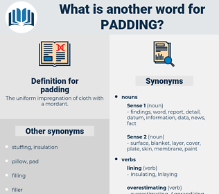 padding, synonym padding, another word for padding, words like padding, thesaurus padding