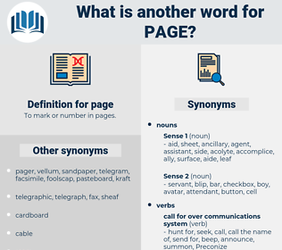 page, synonym page, another word for page, words like page, thesaurus page