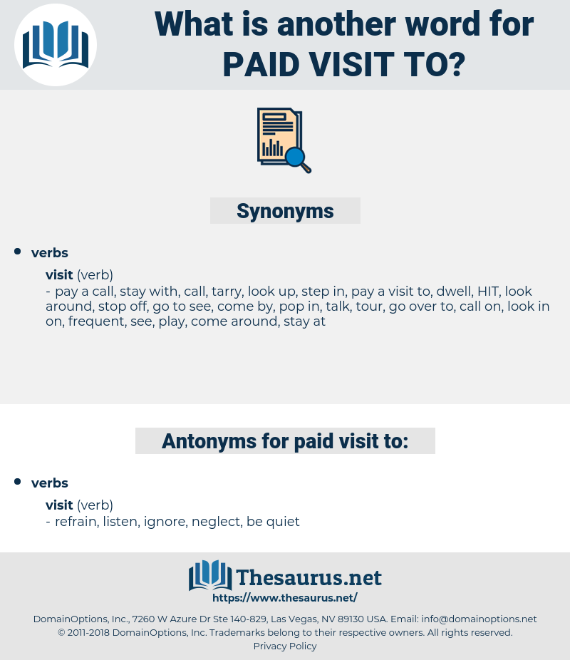 paid visit to, synonym paid visit to, another word for paid visit to, words like paid visit to, thesaurus paid visit to