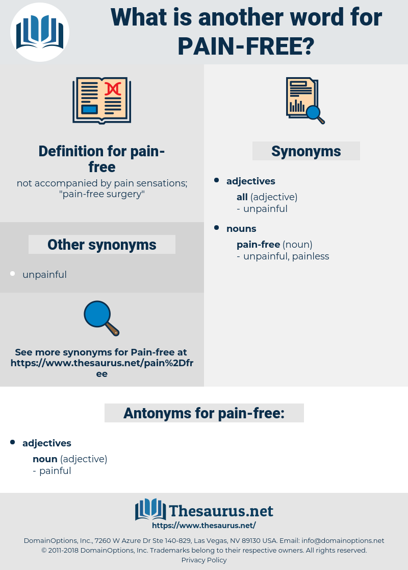 Synonyms for PAIN-FREE - Thesaurus.net