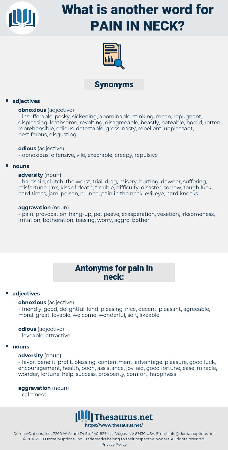 pain in neck, synonym pain in neck, another word for pain in neck, words like pain in neck, thesaurus pain in neck