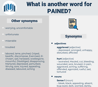 pained, synonym pained, another word for pained, words like pained, thesaurus pained