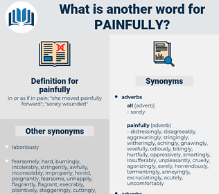 painfully, synonym painfully, another word for painfully, words like painfully, thesaurus painfully