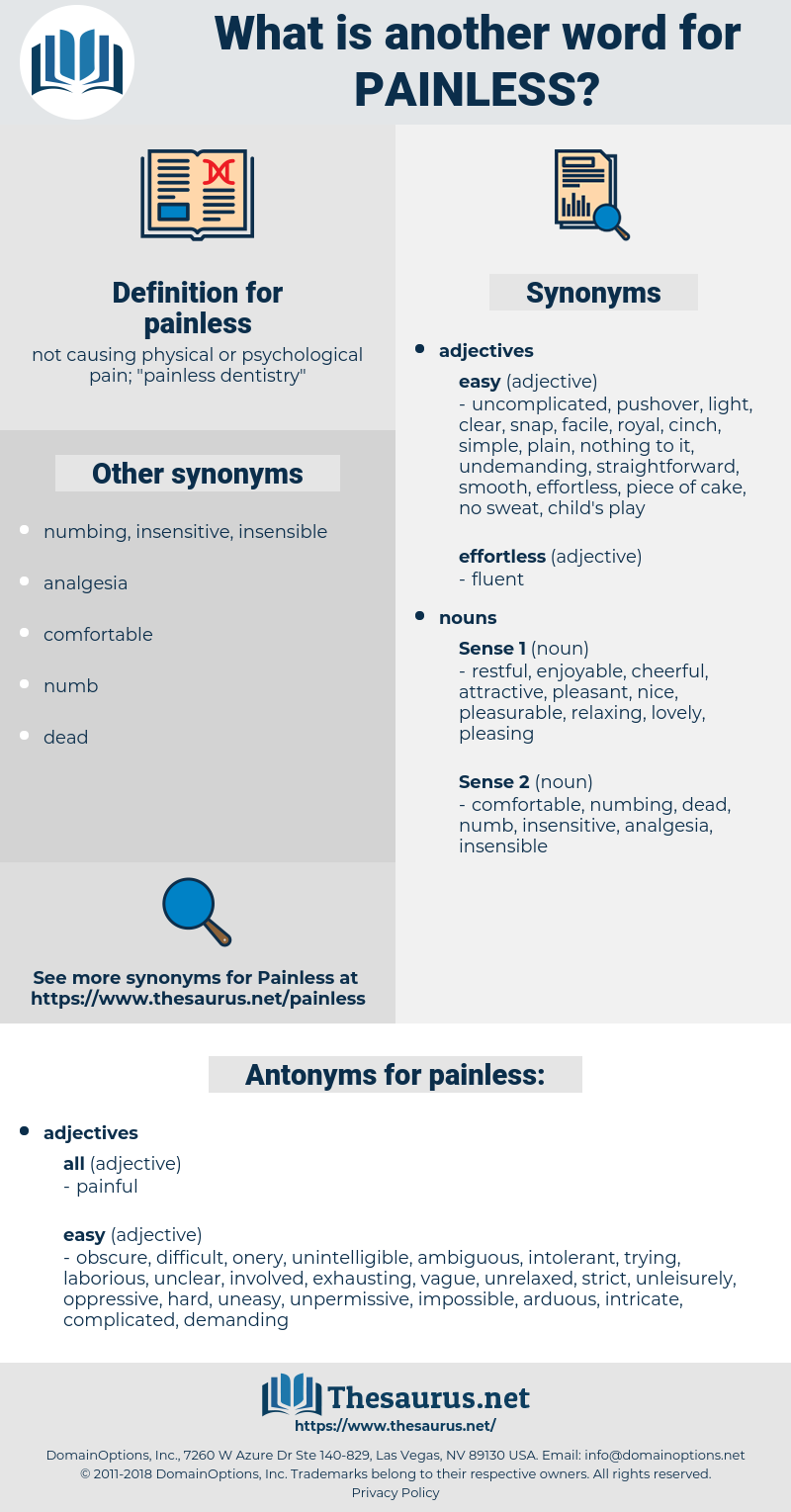 painless, synonym painless, another word for painless, words like painless, thesaurus painless