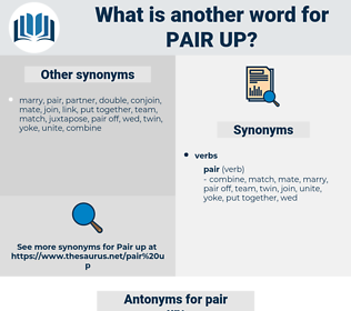 pair up, synonym pair up, another word for pair up, words like pair up, thesaurus pair up