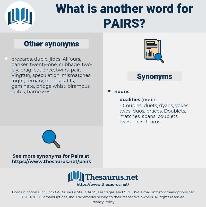 pairs, synonym pairs, another word for pairs, words like pairs, thesaurus pairs