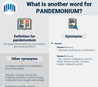 pandemonium, synonym pandemonium, another word for pandemonium, words like pandemonium, thesaurus pandemonium