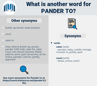 pander to, synonym pander to, another word for pander to, words like pander to, thesaurus pander to