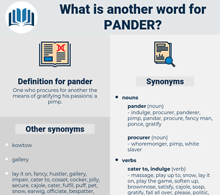 pander, synonym pander, another word for pander, words like pander, thesaurus pander