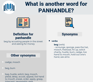 panhandle, synonym panhandle, another word for panhandle, words like panhandle, thesaurus panhandle