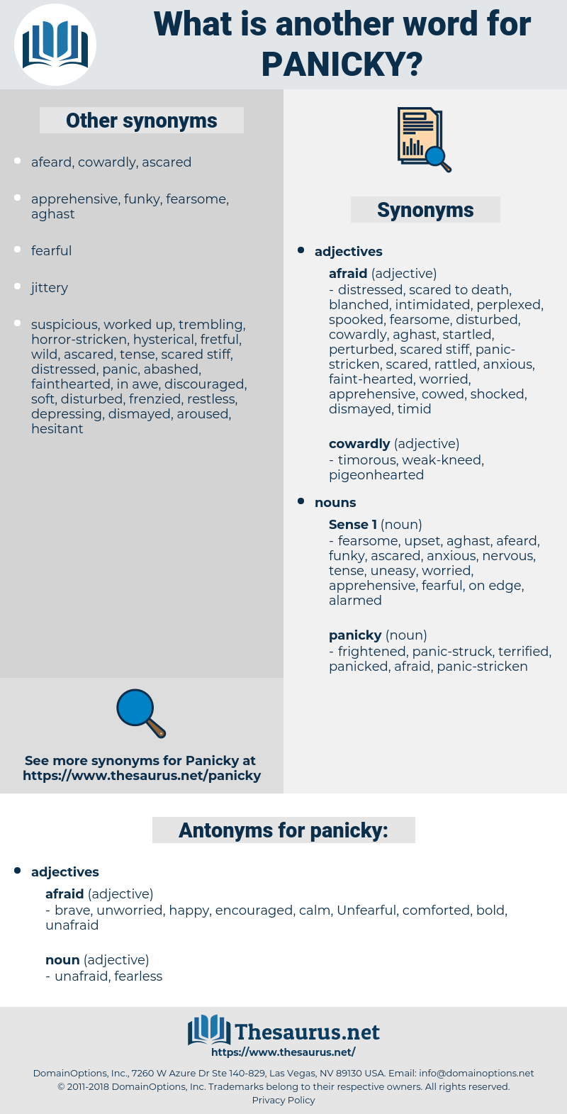 panicky, synonym panicky, another word for panicky, words like panicky, thesaurus panicky