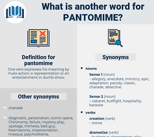 pantomime, synonym pantomime, another word for pantomime, words like pantomime, thesaurus pantomime