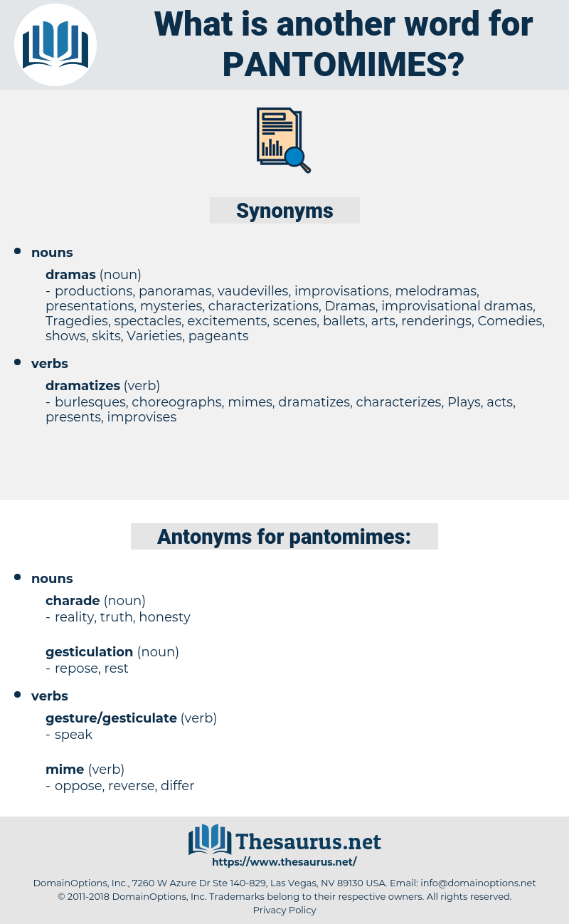 pantomimes, synonym pantomimes, another word for pantomimes, words like pantomimes, thesaurus pantomimes