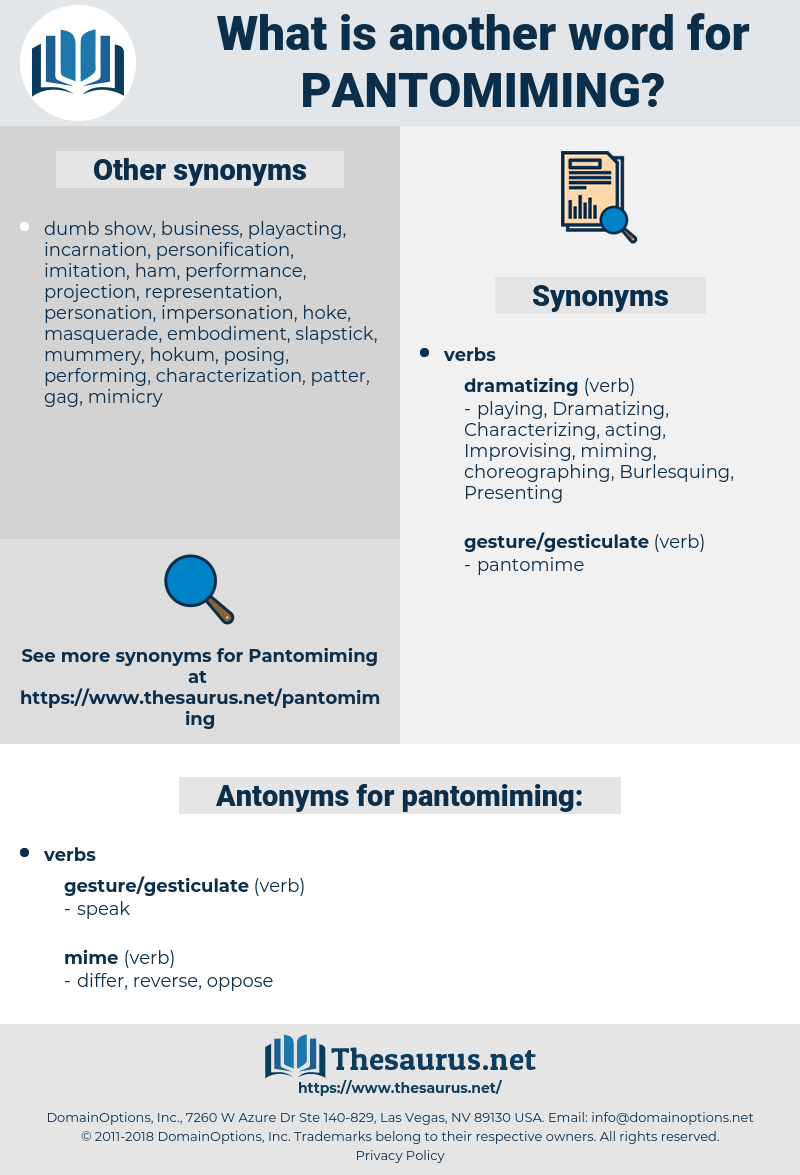 pantomiming, synonym pantomiming, another word for pantomiming, words like pantomiming, thesaurus pantomiming