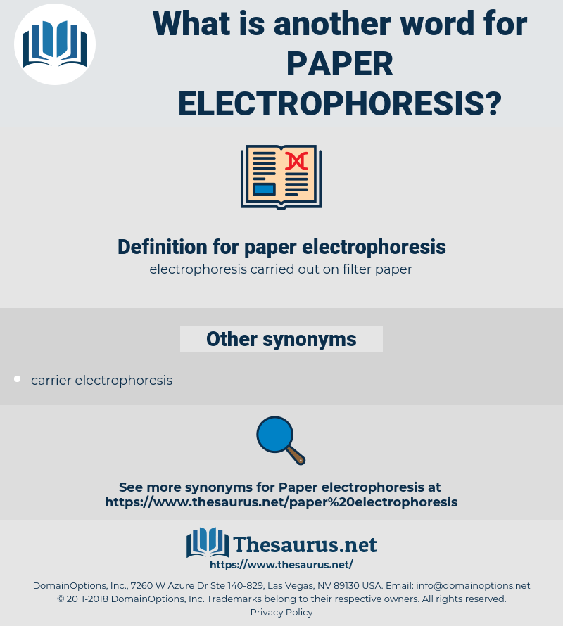 paper electrophoresis, synonym paper electrophoresis, another word for paper electrophoresis, words like paper electrophoresis, thesaurus paper electrophoresis