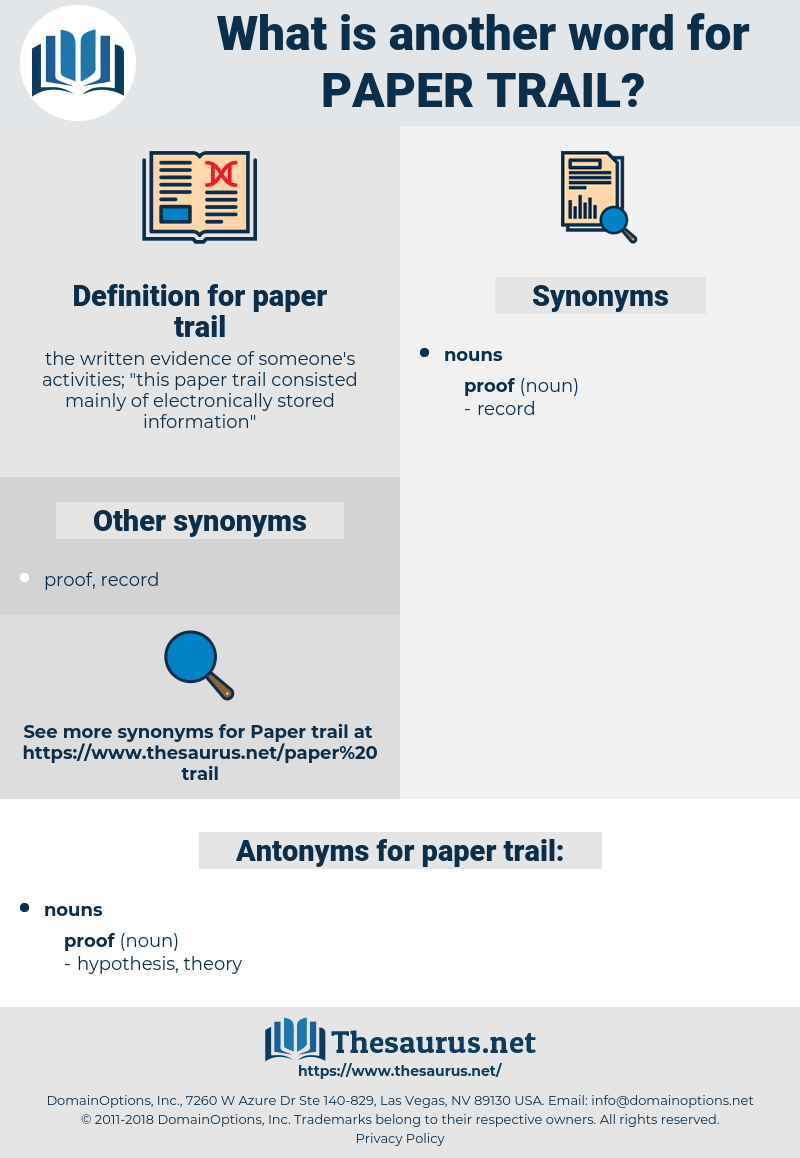 paper trail, synonym paper trail, another word for paper trail, words like paper trail, thesaurus paper trail