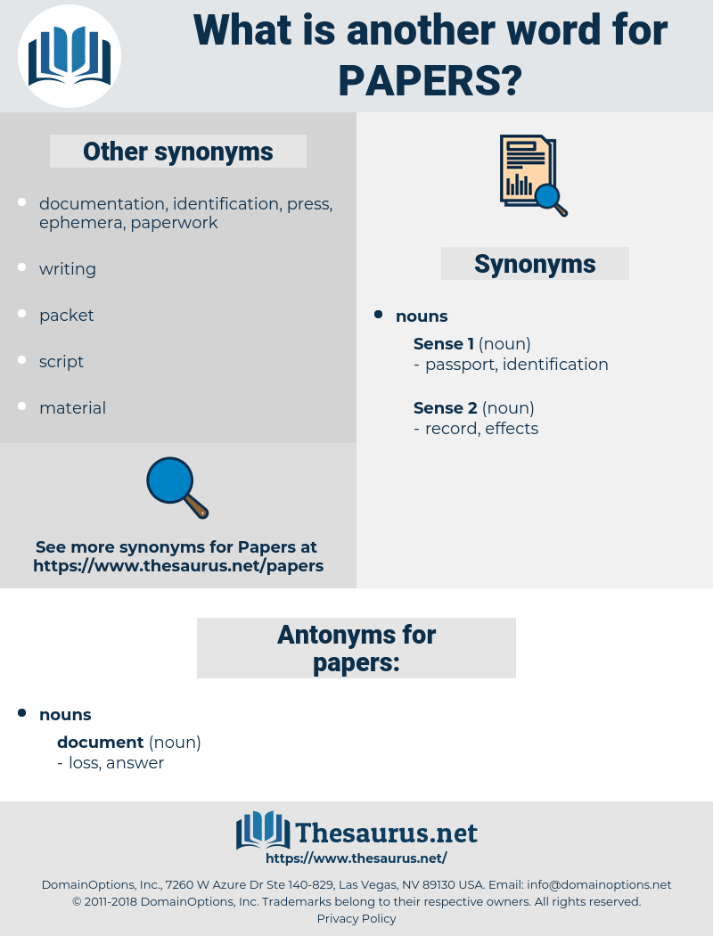 papers, synonym papers, another word for papers, words like papers, thesaurus papers