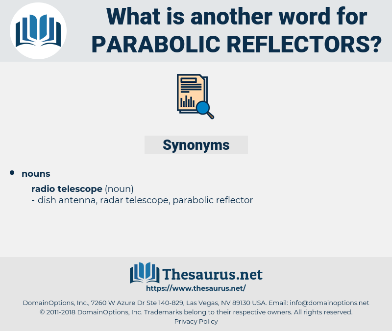 parabolic reflectors, synonym parabolic reflectors, another word for parabolic reflectors, words like parabolic reflectors, thesaurus parabolic reflectors