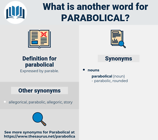 parabolical, synonym parabolical, another word for parabolical, words like parabolical, thesaurus parabolical
