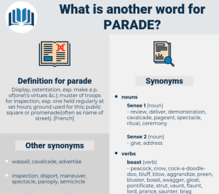 parade, synonym parade, another word for parade, words like parade, thesaurus parade