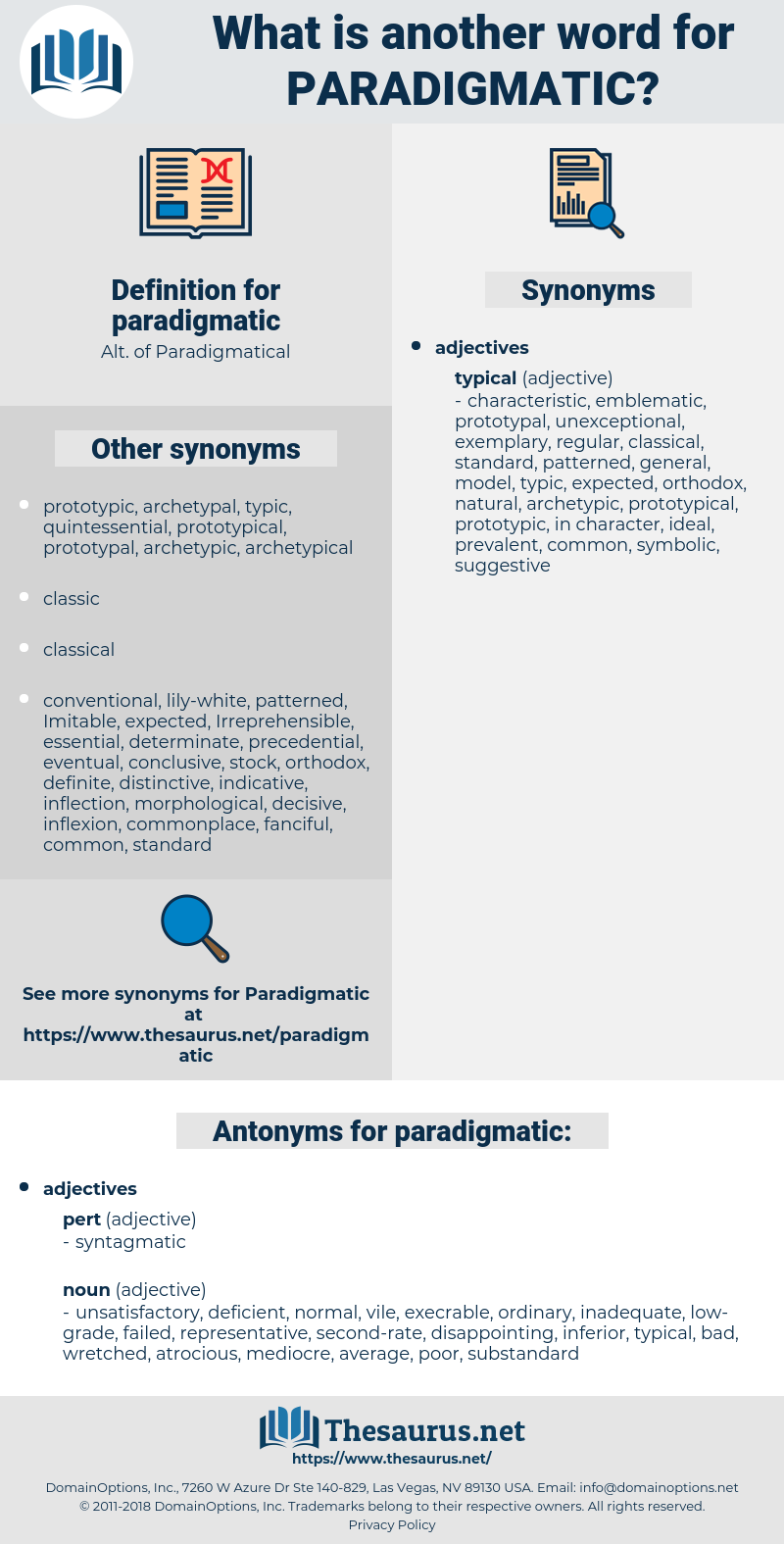 Synonyms for PARADIGMATIC, Antonyms for PARADIGMATIC