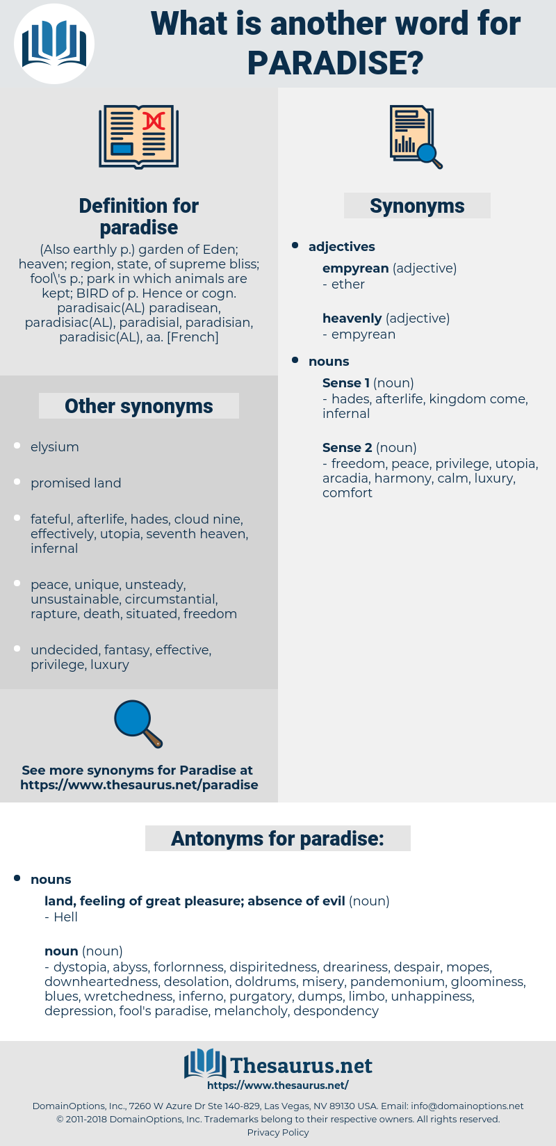 Synonyms for PARADISE, Antonyms for PARADISE - Thesaurus net